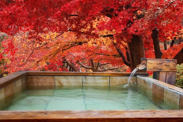 紅葉の中にある露天風呂